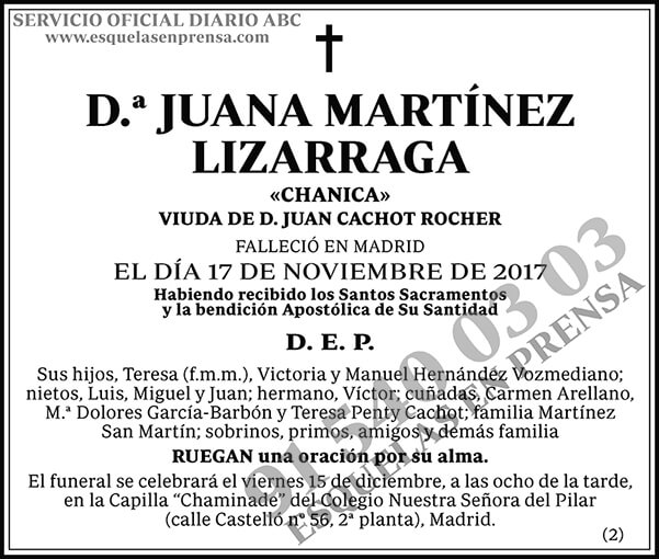 Juana Martínez Lizarraga
